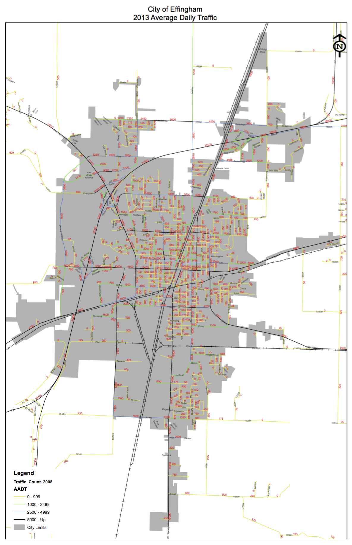 Traffic Count Map City Of Effingham